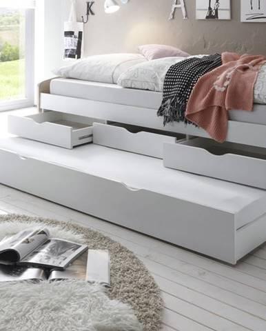 Posteľ s výsuvným lôžkom SENTIA dub sonoma/biela, 90x200 cm